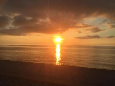 solnedgång vid Almedalen i Maj